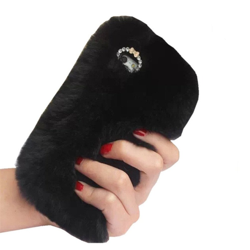5.1 inch Samsung Galaxy S7 Soft Cover, Sammid Women Winter Soft Warm Cute Fluffy Furry Case for Samsung Galaxy S7 - Black
