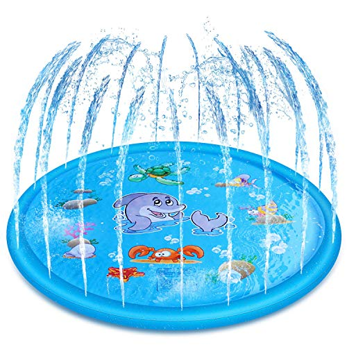 Yealsha Sprinkle and Splash Play Mat 60 , Inflatable Outdoor Sprinkler Pad Summer Water Pad Toys Swimming Party Gift for Kids Children Infants Toddlers Boys Girls Blue