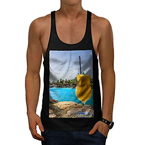 Cold Beach Cocktail Vacation Men L Gym Tank Top | Wellcoda - Creek Cocktail