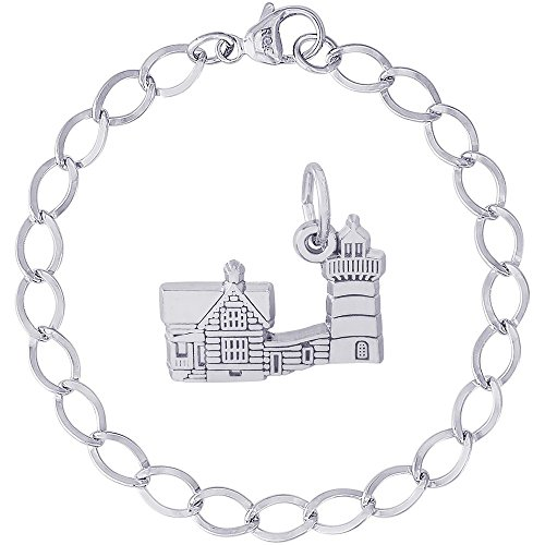 Rembrandt Charms Sterling Silver Nubble Cape Neddick, ME Lighthouse Charm on a Dapped Curb Bracelet, 8