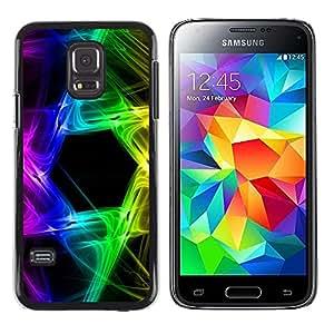TopCaseStore / la caja del caucho duro de la cubierta de protección de la piel - Rainbow Black Hexagon Colors - Samsung Galaxy S5 Mini, SM-G800, NOT S5 REGULAR!