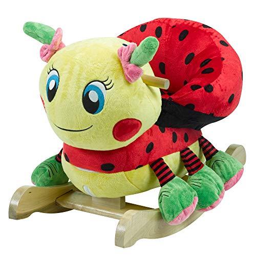 (Lulu Ladybug Rocker | Horse Plush Butterfly Baby Toy with Wooden Rocking Chiar Horse/Kid Rocking Toy/Baby Rocking Horse/Rocker/Animal Ride)
