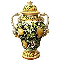 CERAMICHE D'ARTE PARRINI - Italian Ceramic Amphora Vase Jar Art Pottery Hand Painted Decorated Lemons Made in ITALY Tuscan