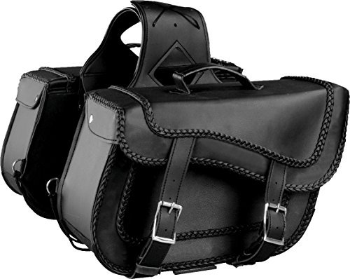 - Milwaukee Performance SH664ZB Black Large Braided Zip-Off Two Buckle PVC Throw Over Saddle Bag