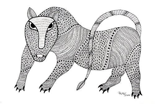 IMI 100% Hand Painted Gond Art Painting for Wall Décor on Handmade Paper, 14 X 10 Inches, Black and White Tiger)
