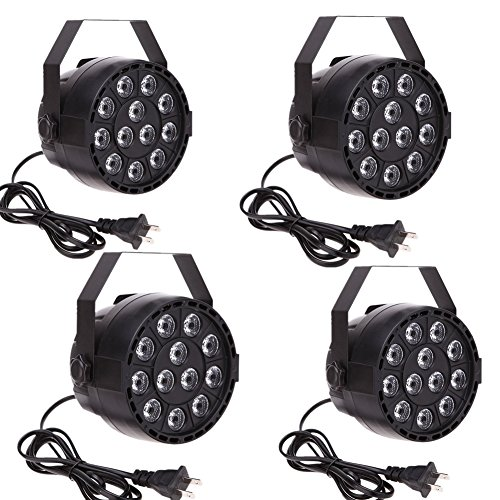 YMHWWW LED Par Lights 12 RGBW Battery-Powered by IR Remote and DMX Control Max 6 hours Playtime Wireless Stage Lighting (4PCS)