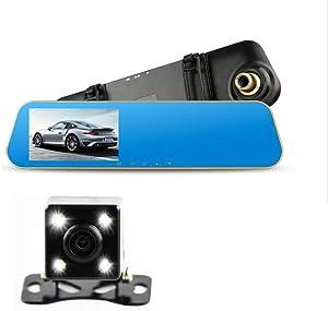 4.3'' HD 720P Car DVR Car Camera Dash Cam 100 Degree Night Vision Digital Video Recorder CMOS Rearview Mirror with Rear Camera