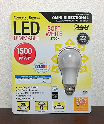 Feit Electric LED Dimmable Omni Directional Light Bulb Soft White 2700K 1500 Lumens Bright