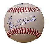 Boston Red Sox Takashi Saito Autographed Hand Signed Baseball with Japanese and English Signatures, Arizona Diamondbacks, Milwaukee Brewers, Los Angeles Dodgers, Atlanta Braves, Proof Photo, COA