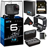 GoPro HERO6 Black Action Camera- Silver Bundle w/32gb microSDHC Memory Card and Case for GoPro
