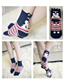 One Pair Women Fashion Cute Fun Animal 3D Dog Cotton Soft Crew Socks (Navy)