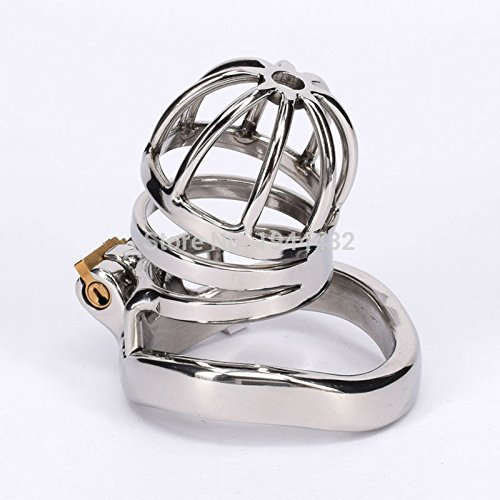 ccTina Male Chastity Cage Stainless Steel Penis Restraint Locking Cage Metal Chastity Devices For Men Gay Sex Toys 1pcs by ccTina