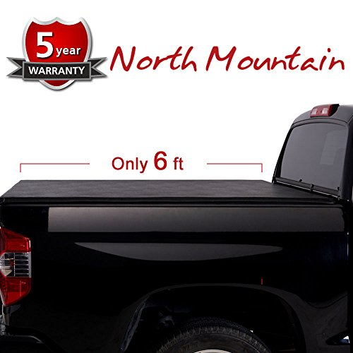 "North Mountain 1pc 6.5' (76.3"") Black Vinyl Clamp On Soft Tri-Fold Tonneau Cover Assembly w/Mounting Hardware+Bolts For Ram 09-17 1500 10-17 2500/3500 Fleetside Bed w/o Ram Box or Utility Track"
