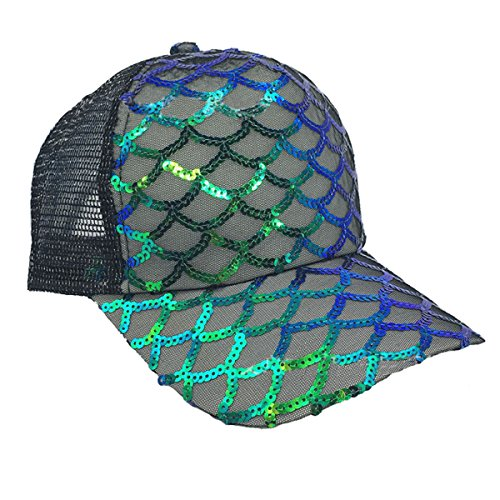 Sequin Baseball Cap - Maticr Unisex Bling Mermaid Scales Sequin Trucker Hats Adjustable Mesh Caps Baseball Party Hat (Black)