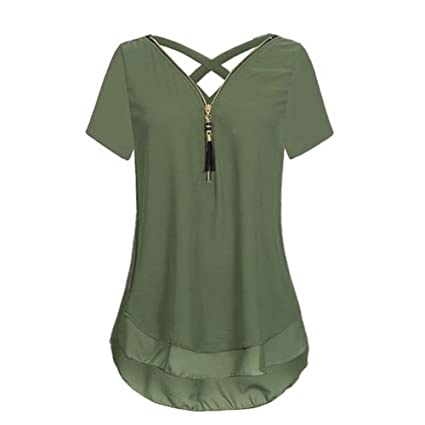 b0635e2299512c Amazon.com: Women's T Shirts Chiffon Short Sleeve Tank Tops V-Neck Zipper  Hem Scoop Tops Loose Pure Color Blouse by BOLUBILUY: Clothing