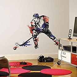 9 Piece Kids Blue Red White Hockey Player Wall Decals Set, Sports Themed Wall Stickers Peel Stick, Sports Puck Stick Ice Goal Champion Decorative Graphic Mural Art, Vinyl