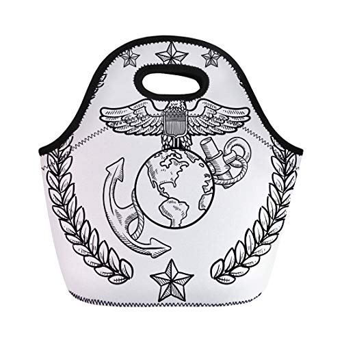 (Semtomn Neoprene Lunch Tote Bag Doodle Military Rank Insignia for Us Marine Corps Including Reusable Cooler Bags Insulated Thermal Picnic Handbag for Travel,School,Outdoors,Work)
