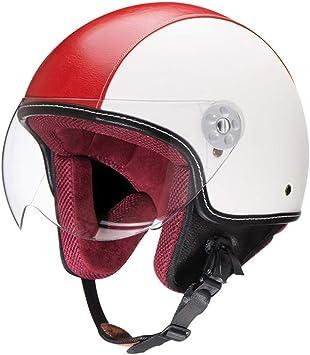 ZR-Mono Noche · Pilot mofa Jet-Casco Chopper Biker Bobber Retro Moto Casco Vespa Casco Cruiser Vintage Scooter-Casco · Certificado Dot · Incluye Visera · Rojo Blanco: Amazon.es: Deportes y aire libre