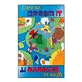 Flagship Carpets CE250-28W Blue Dare to Dream Rug, Motivate Children to Set Goals And Aspire to Meet them, Children's Classroom Educational Carpet, Kids School, 5' x 8'