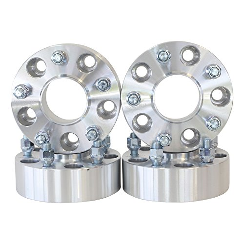 """4 QTY Wheel Spacers Adapters 4"""" (2 inch Per Side) fits all 5x5 (5x127) Hubcentric vehicle to 5x5 wheel patterns with 1/2 x 20 threads fits Jeep Wrangler JK Rubicon"""