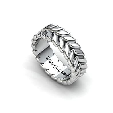 Silver Caiman Mens Band Ring Jakarta Band for Men from Vritra