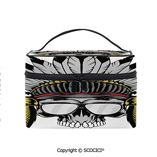 Printed Durable Portable Travel Cosmetic Bags Dead Ancient Native American Tribe Leader Feather Crown with Glasses with Mesh Pocket Women Make Up Bags