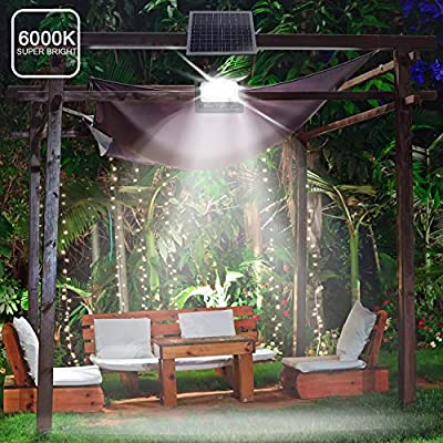 Solar Powered Street Flood Lights, 180 LEDs 5,100 Lumens Outdoor Waterproof IP65 with Remote Control Security Lighting for Yard, Garden, Gutter, Swimming Pool, Pathway, Basketball Court, Arena