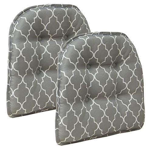 Klear Vu Trellis Gripper Tufted Non-Slip Geometric Dining Chair Cushions, Set of 2, 15