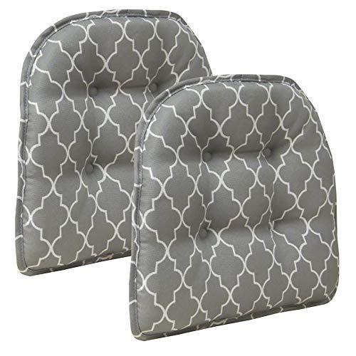 - Klear Vu Trellis Gripper Tufted Non-Slip Geometric Dining Chair Cushions, Set of 2, 15