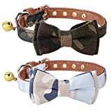 KOOLTAIL Bow Tie Cat Collars with Bell 2 Pack Camo Pet Collar Adjustable 10