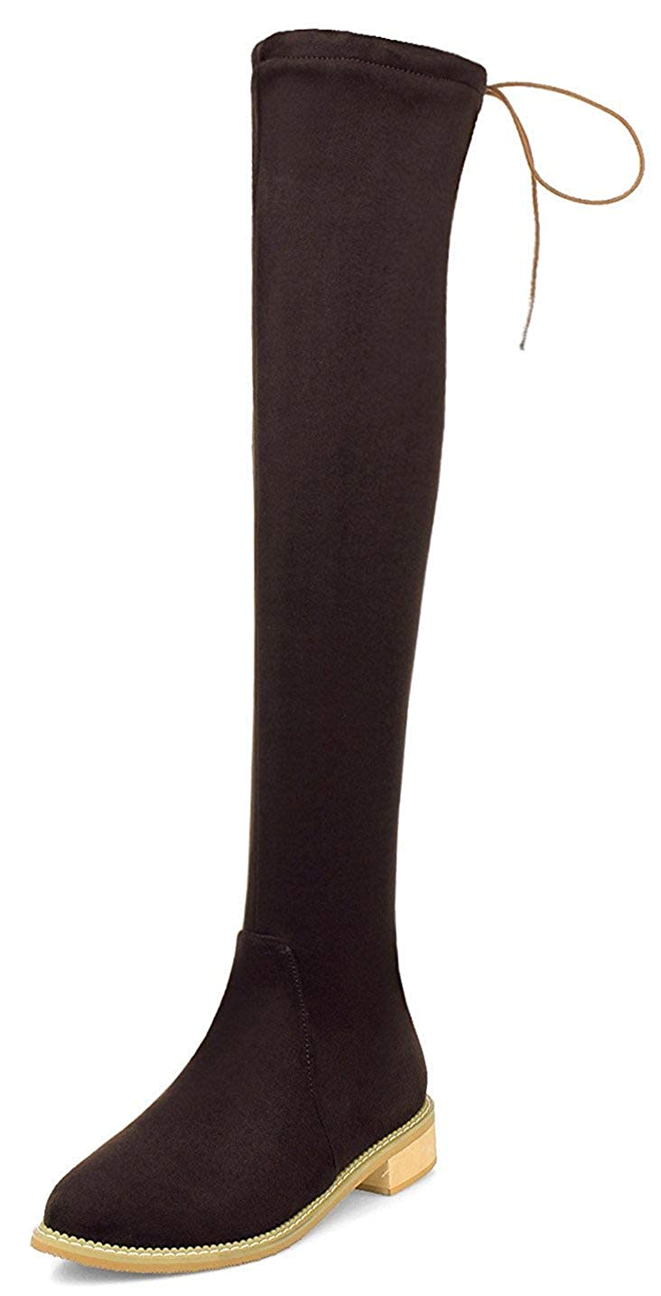 Chunky Slim Stretchy Tall Boots Unm Womens Low Heel Over The Knee Boots Pointed Toe Back Tie