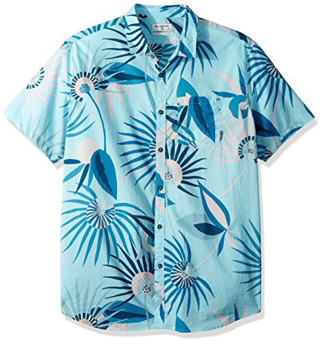 (Billabong Men's Sunday Floral Short Sleeve Shirt Blue Medium)