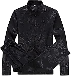 97f7d28a2b ENTER KIKIGOAL Mens Martial Arts Kung Fu Uniform Long Sleeve Tang Suit With  Dargon Pattern (XL