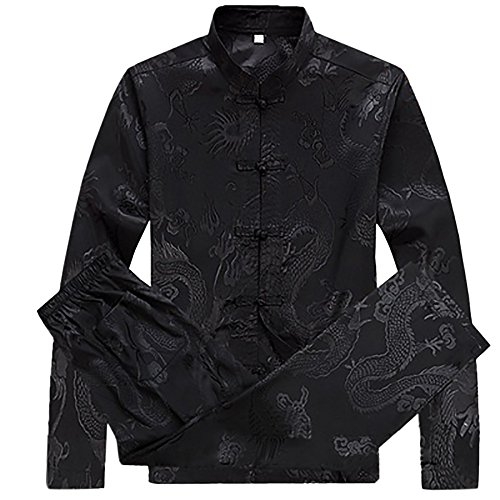 KIKIGOAL Mens Martial Arts Kung Fu Uniform Long Sleeve Tang Suit With Dargon Pattern (L, black)