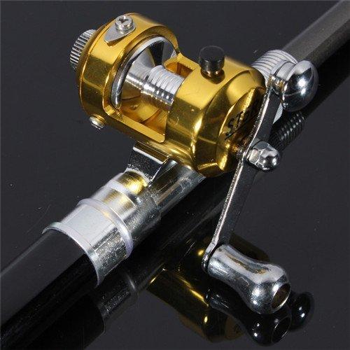 38inch Mini Portable Pocket Aluminum Alloy Fishing Rod Pen Great Gift(Red/Blue/Black/Golden/Silver) (Black)