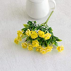 MARJON Flowers1 Bouquet Artificial Plastic Fake Rosebud Flower Home Hotel Shop Fence Decor (Yellow) 32
