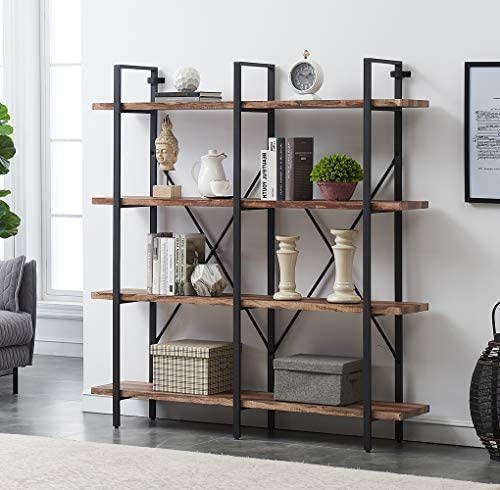 O K FURNITURE Double Wide 4-Tier Open Bookcases Furniture, Rustic Industrial Etagere Bookshelf, Large Book Shelves for Home Kitchen Organizer, Retro Brown