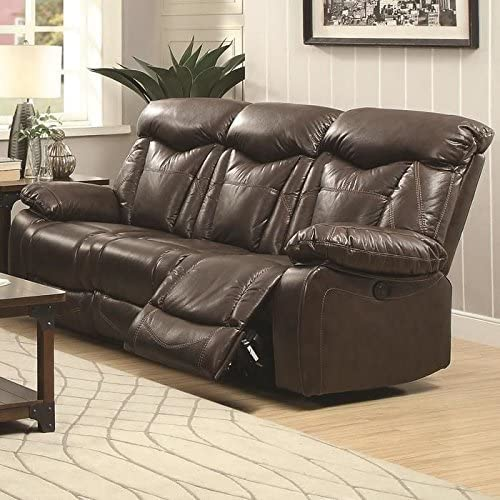 Coaster Home Furnishings Zimmerman Power Sofa with Pillow Arms Dark Brown