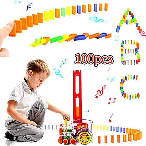100Pcs Domino Train丨Building and Stacking Toy Blocks Domino Set for Boys and Girls Age 3-8丨 Domino Blocks Set Game Electric Train Kids Toy with Light and Sound Construction