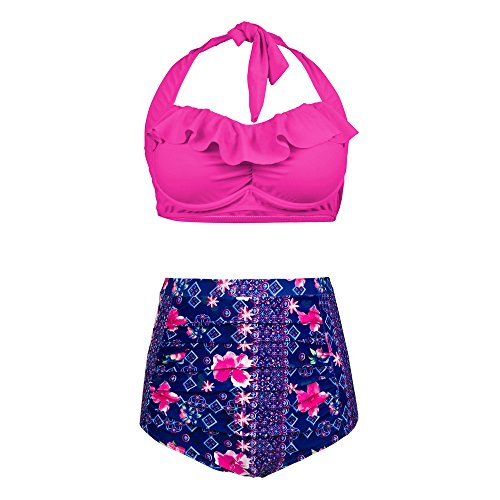 PZZ Plus Size High Waisted Swimsuit Flouncing Retro Flower Printed Beachwear Two Pieces Bathing suits Bikini Set