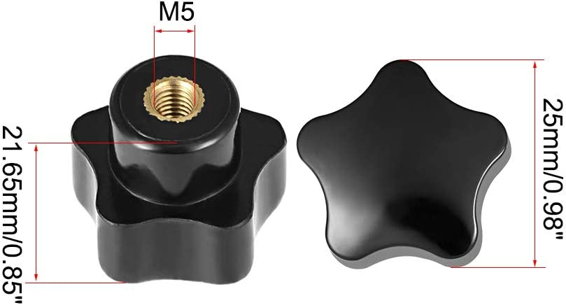 Juego de 5 perillas de lat/ón con rosca hembra Sourcingmap color negro M5 x 25 mm