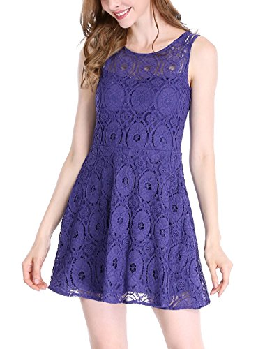 Allegra K Women's Sleeveless Semi Sheer Yoke Floral Lace Mini Flare Dress L Royal