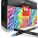 Arteza Real Brush Pens, 96 Paint Markers with Flexible Brush Tips, Professional Watercolor Pens for Painting, Drawing, Coloring & More, 100% Nontoxic, Multiple Colors