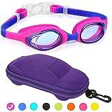Kids Swim Goggles, Swimming Goggles for Boys Girls Kid Age 3-12 Child Colorful Swim Goggles Clear Vision Anti Fog UV Protection No Leak Soft Silicone Nose Bridge Protection Case Kids' Skoogles