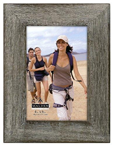 Malden International Designs Rustic Fashion Wide Linear Graywash Wooden Picture Frame, 4x6, Gray
