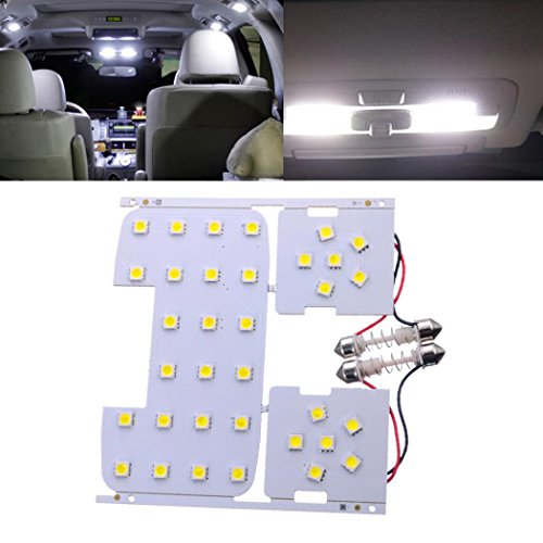 LtrottedJ 3 Pcs For Kia Rio K2 2006-2012 For Hyundai Solaris Verna Reading Lights Dome Lamps Interior LED White Color Suitable