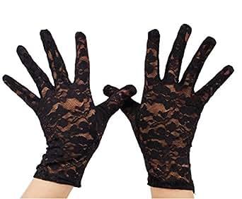 VIVIANSBRIDAL Women's 2015 Short Elegant Lace Wedding Gloves, Black