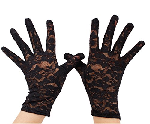 VIVIANSBRIDAL Women's 2018 Short Elegant Lace Wedding Gloves (Black) -