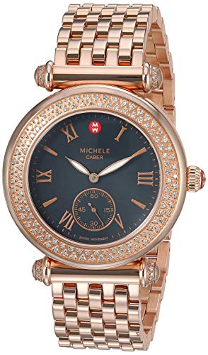 Gold Plated Mop Dial - Michele Caber MW16A01B5026 Ladies Black MOP Dial Rose Gold Plated MS18DJ267715