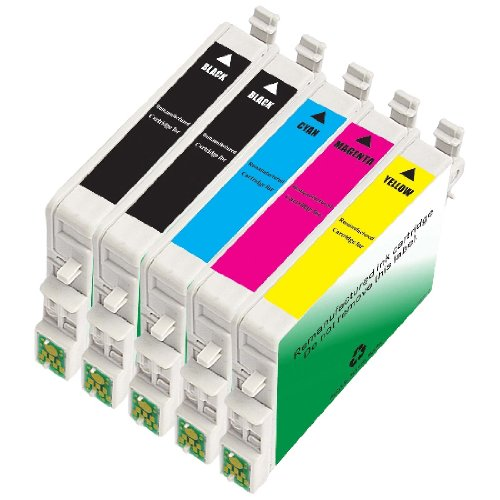 INKUTEN 5 Pack Remanufactured 60 /T060 / T0601-4 Ink Cartridges (2BK, 1C, 1M, 1Y) for C88+ C68 C88 CX3800 CX3810 CX4200 CX4800 CX5800 CX5800F CX7800 (Epson Stylus Cx4800 Printer)